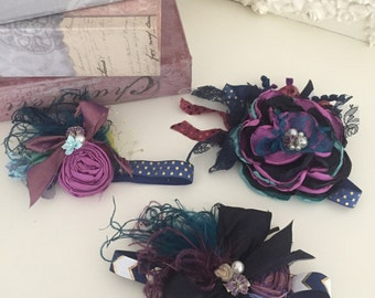 Back to school plum and navy flower headband cozette couture