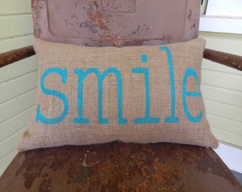 SMILE  in Fun Summer Style Block Font Burlap Throw Accent Pillow Custom Colors Available Gift Home Decor