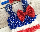 4th of July Outfit, Baby 4th of July Outfit, 4th of July Petti Romper, Romper and Headband Set