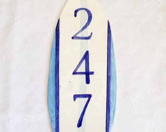 Ceramic Address Sign - House Numbers - Surfboard Address - Home Address - Beach Address Plaque - Home Address - Number Sign - Home Sign