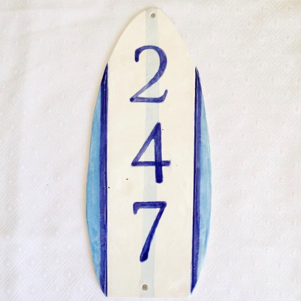 ceramic address sign house numbers by thebabyhandprintco