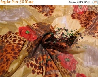 ON SALE Yellow Brown and Red Animal and Floral Print Pure Silk with Metallic Burnout Chiffon Fabric--One Yard