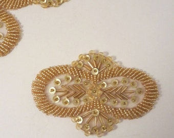 ON SALE Bright Gold Beaded Applique--One Piece
