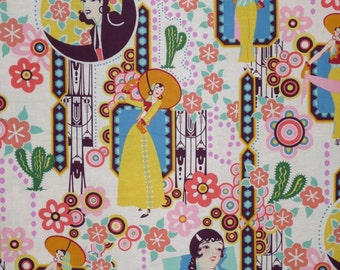 Retro Deco Style Ranchera Print Pure Cotton Fabric--By the Yard