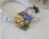 Collage Necklace, Art Deco Necklace, Assemblage Jewelry, Vintage UpCycled Necklace, Peacock Colors, Abstract Necklace, Crystal Necklace