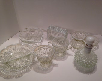 Elegant Fenton Clear Glass With White Laced Hobnail Milk Glass Edging. Sugar and creamer. Oil Jar Candy Trays Divided Trays
