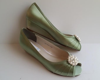 Sage Green Wedding Shoes Sage Green Bridal Shoes Sage Green Wedges PICK YOUR COLOR  100 Choices Pearl and Crystal Cluster Brooch