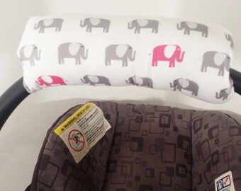 Infant Car Seat Handle Cushion ARM PAD, Handle Cover Wrap, Reversible - Black White and Pink Elephants