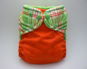 One Size Cloth Diaper - Lime Green Plaid with Orange PUL and Lime Green Microfleece