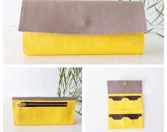 Spring Yellow womens wallet - vegan leather wallet - Smartphone Wallet - Tri-fold clutch wallet - handcrafted Made in Italy by Pitti Vintage