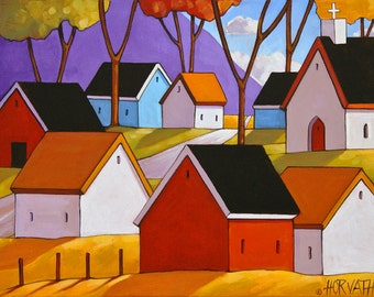 Mountain Village Roadway, Colorful Cottages Landscape Artwork Print, Town Church by Horvath, 8x11 Giclee Folk Art Wall Decoration Gift