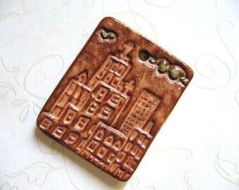 Terra Cotta City Ceramic Pendant
