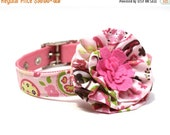 BIG Summer SALE Pink and Brown Summer Paisley Dog Collar and Flower Set