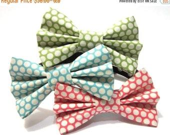 BIG Summer SALE Dog Bowtie, Bow tie Dog Collar- Choose Green, Blue, or Pink Polka Dots