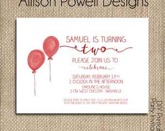 Boy Watercolor Balloon Birthday Party Invitation - Any age - Printed or Print you own - Custom Colors