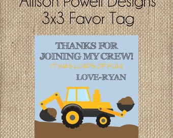 Construction, Back Hoe, Digger, Crane, Birthday Party Favor Tags