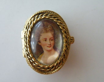 Lady woman portrait pill box.