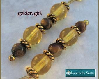 Topaz Tigereye Earrings, Hypoallergenic, Nickelfree, Gemstones, Topaz Glass, Glittery, Dainty Gold Earrings, Coordinating Necklace Available
