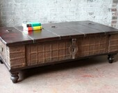 Coffee Table Reclaimed Pitara Trunk Table Salvaged Antique Indian Wedding Chest Moroccan Decor