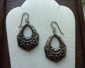 LAMPBLACK-Soot Black Embossed Brass Teardrop Hoop Earrings