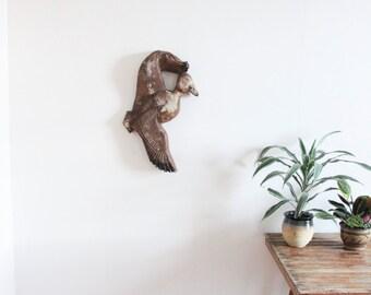 vintage wood mallard wall hanging
