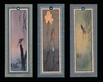3 Kingfisher Bookmarks by Koson bmbs033