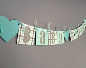 Aqua Teal Grey Baby Shower Banner -Neutral Shower Banner - Teal Grey Hearts - Gender Neutral