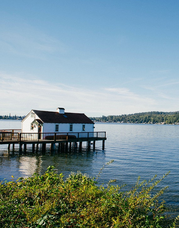 Boathouse Print, Nautical Image, Art, Photography, Cottage Scene, BeachHome Decor, Blue and White Print, Fine Art Print