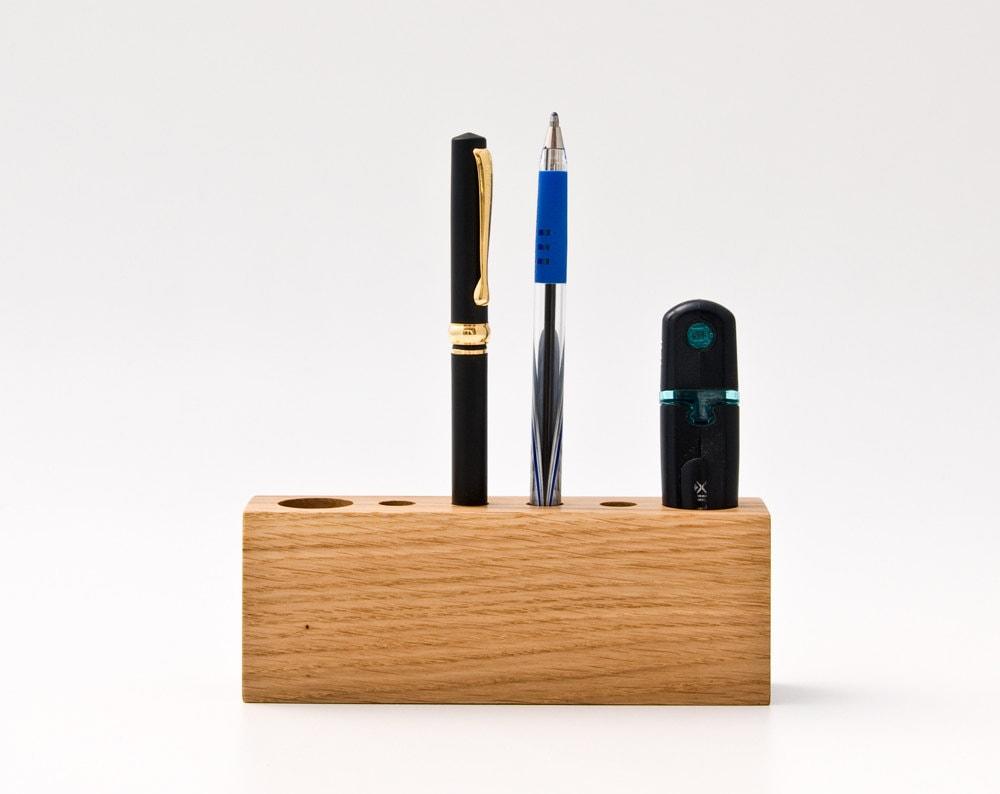 Pen Holder Pencil Holder Wooden Desk Organizer Office