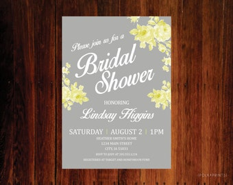 Set of 12 - Vintage Rose Bridal Shower Invitations