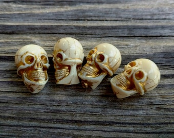 Skull, Pressed Resin, German Made, 15x10mm, Ivory Gold Lined, Priced per Piece
