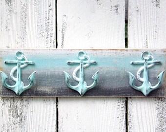 Anchor~Anchor Hook~Nautical~Coastal~Beach House~Towel Rack~Rustic~Light Blue~Gray~White~Nautical Decor