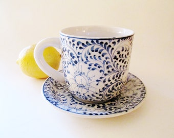 Blue and White Coffee Mug and Saucer, Hand Painted Lotus Flower, Folk Art Mug