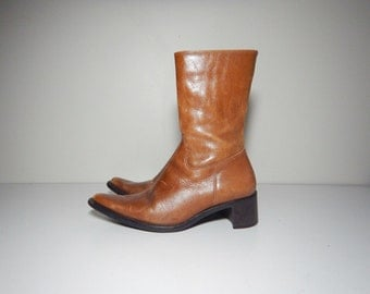 90s brown leather western minimalist narrow toe ankle boots size 7.5