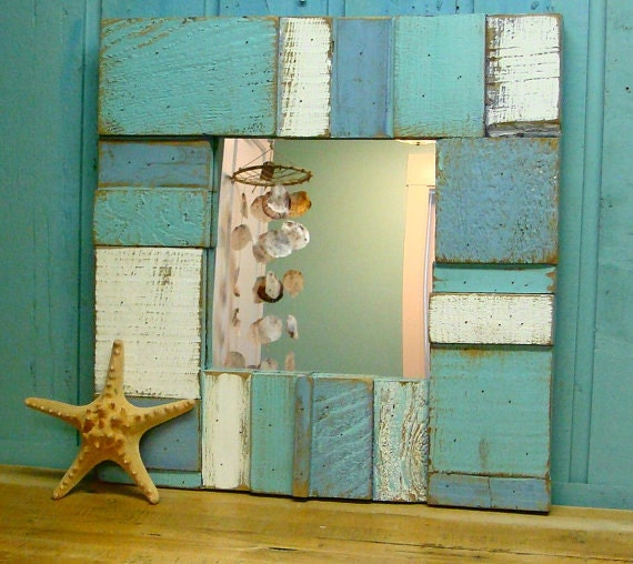 Rustic coastal wall decor : Mirror weathered wood beach farmhouse rustic by castawayshall