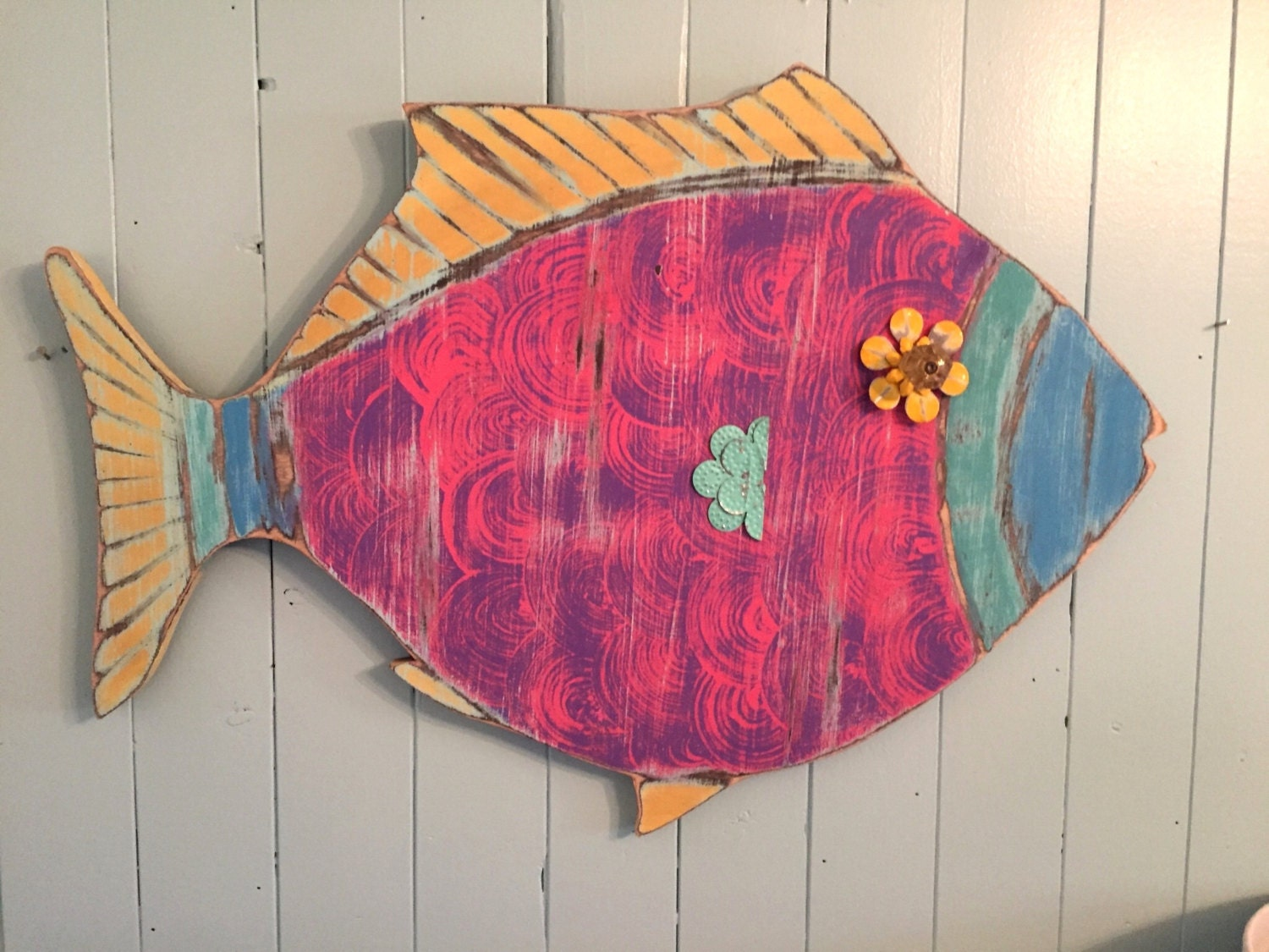 Fish Wall Decor Wood : Fish wall art wooden sign tropical colours beach by