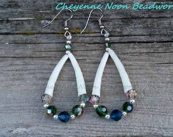 Native American Beaded Earrings - Dentalium and Crystals in 'Ocean'