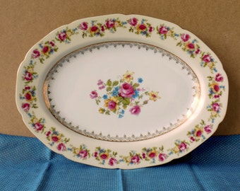Vintage Tea Party Platter. Wedding Plate. Occupied Japan Serving Platter. Hostess Gold Castle. Multicolor Flowers. Replacement China.