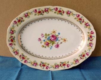 Vintage Tea Party Platter. Wedding Plate. Occupied Japan Serving Platter. Hostess Gold Castle. Multicolor Flowers. Replacement China.