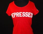 REPRESSED Red Cotton Vintage 1970's Women's Hanes French Cut T-Shirt Shirt S M