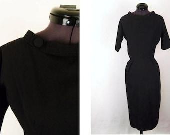 Vintage 50's 60's Little Black Dress Boatneck Size XS