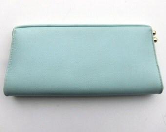 Vintage 60's Clutch Purse in Pastel Blue Faux Leather with Unique Side Clasp
