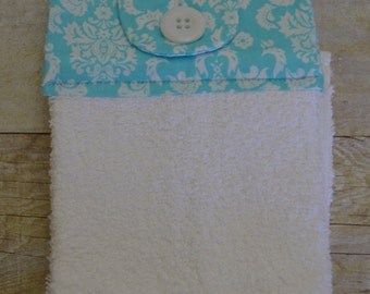 Set of Two Handmade Hanging Kitchen Towels, Damask, Kitchen Towels, Hanging Towels, Bathroom Towels