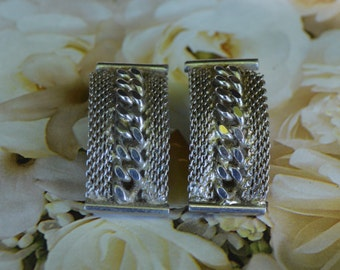 Vintage Silver Tone Mesh and Rope Clip Earrings TRIAD Classic and Elegant Design