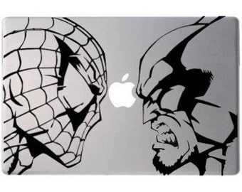 Spiderman, Wolverine, macbook decal, marvel decal,