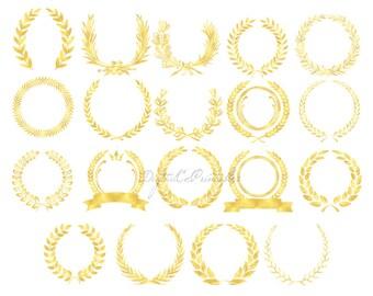 Gold laurel clipart gold Floral frame clipart Gold foil clip art gold Border clipart Digital borders gold laurel border clip art