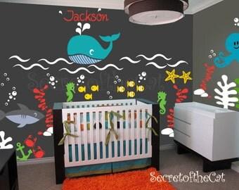 Nursery wall decal - Wall Decals Nurseryl - sea world decal - custom name - underwater decal - Wall Decal - Ocean decals - Nursery