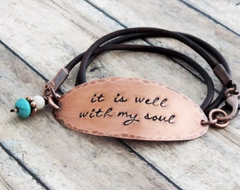 It Is Well With My Soul Bracelet - Christian Jewelry - Leather Wrap Bracelet - Inspirational Jewelry - Sympathy Gift