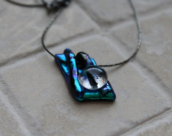 Dichroic glass pendant on chain, fused dichroic glass necklace, dichroic pendant, dichroic necklace, dchroic glass