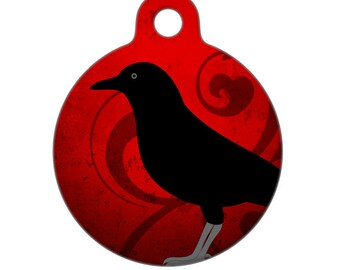 Pet ID Tag - Crow Pet Tag, Dog Tag, Cat Tag, Luggage Tag, Child ID Tag